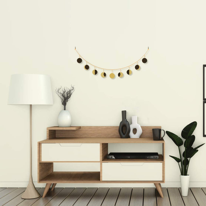 Wooden Gold & Black Moon Phase Garland
