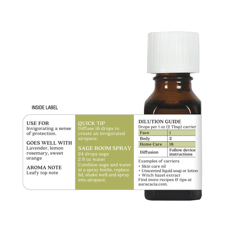 Aura Cacia Sage Essential Oil .5 oz.