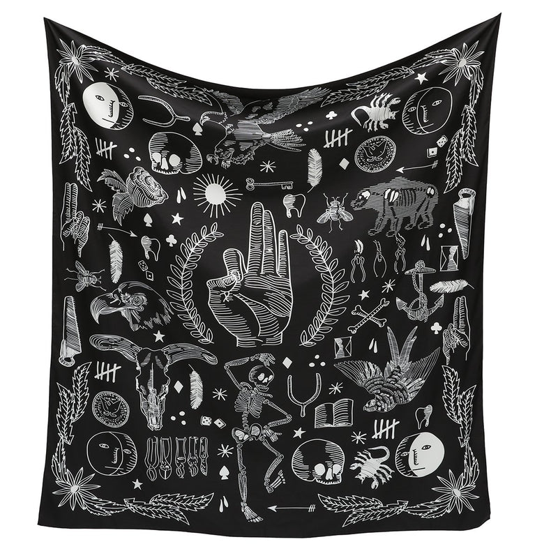 Witchy Occult Black & White Wall Hanging Tapestry