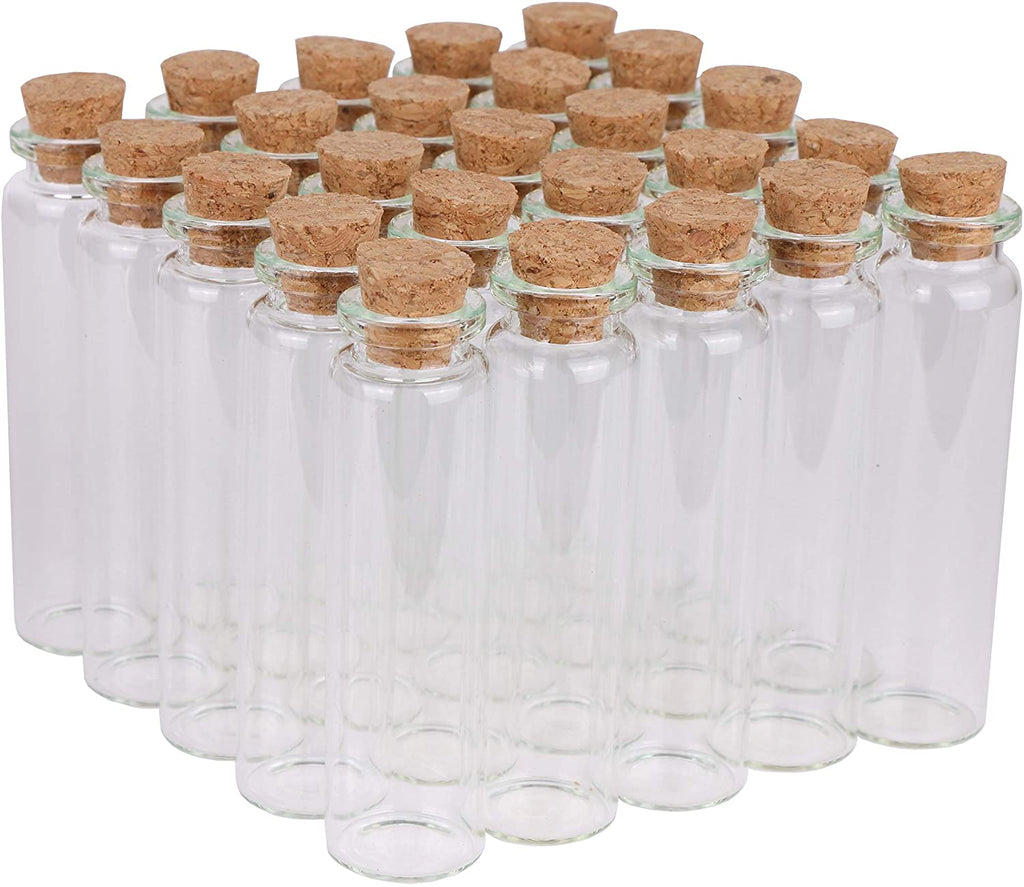 "3"" Tall Clear Glass Jar with Cork Stopper"