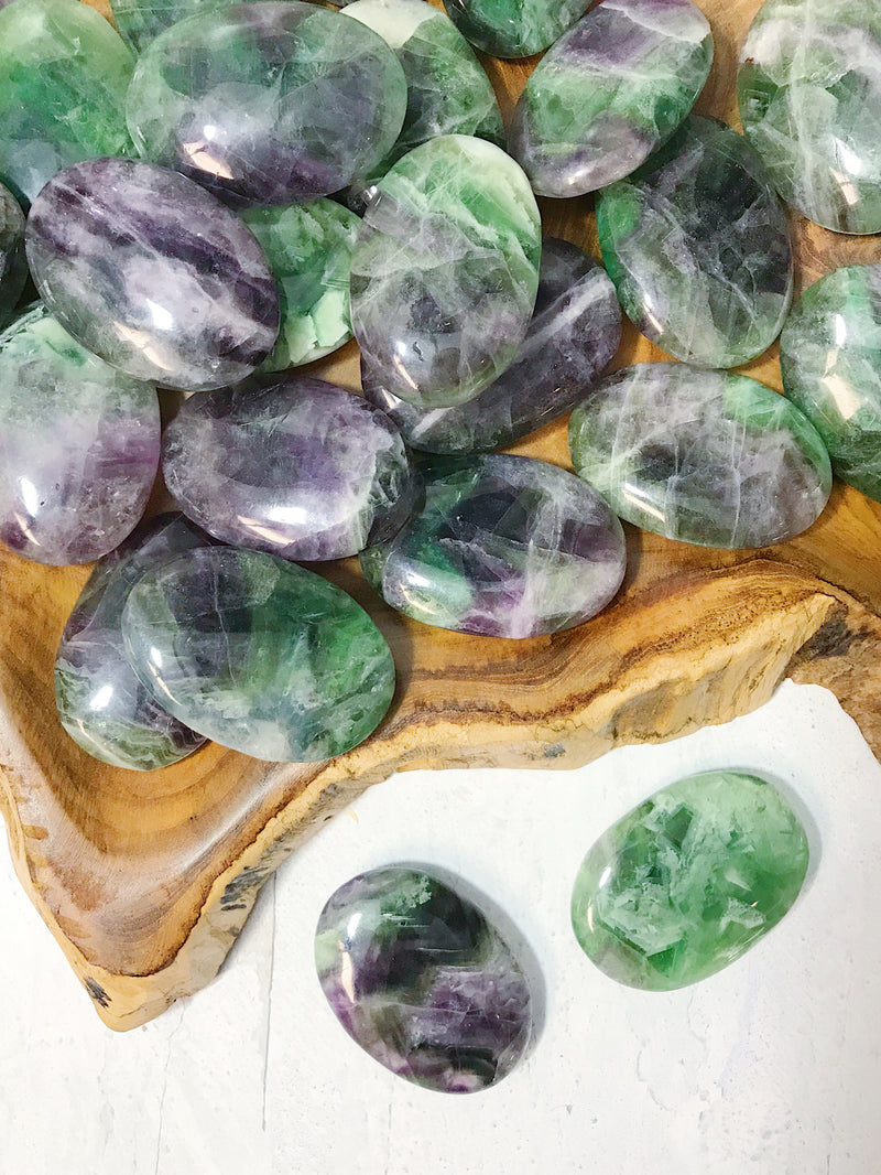 Rainbow Fluorite Palm Stones for Balance & Stress Reduction