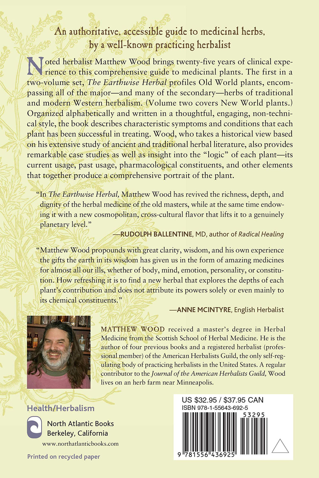 Earthwise Herbal, Volume I by Matthew Wood