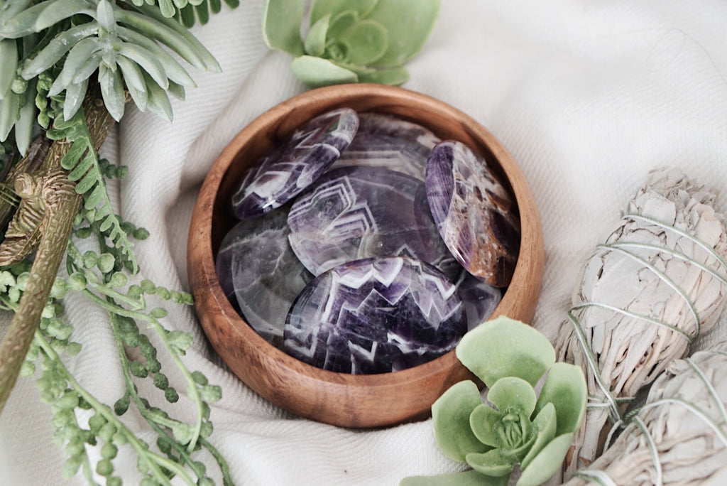 Chevron Amethyst Palm Stones for Spiritual Development