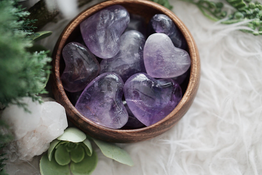 Amethyst Heart Carvings for Protection & Healing