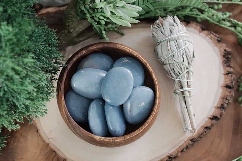 Angelite Palm Stones for Gratitude & Angelic Connection