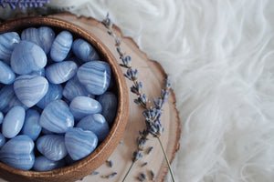 Blue Lace Agate Heart Carvings for Happiness & Personal Growth