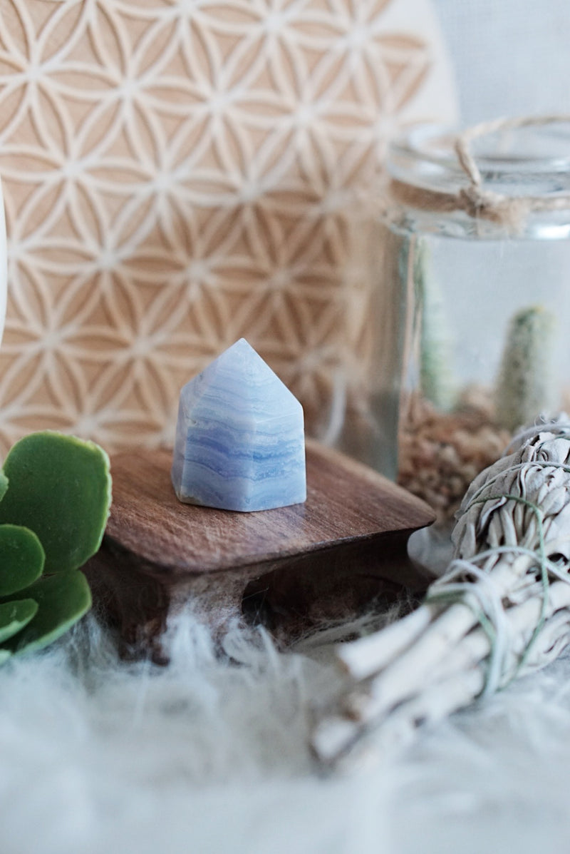 Blue Lace Agate Mini Generators for Happiness & Personal Growth