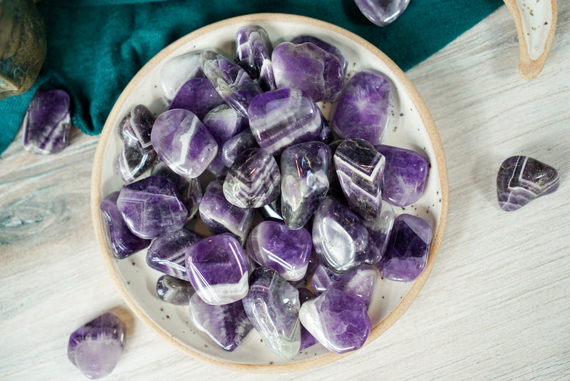 Tumbled Chevron Amethyst for Spiritual Development