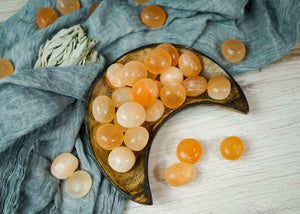 Tumbled Peach Selenite for Divine Guidance