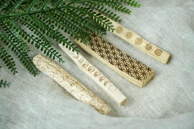 Laser Etched Palo Santo Sticks for Space Clearing - Various Designs