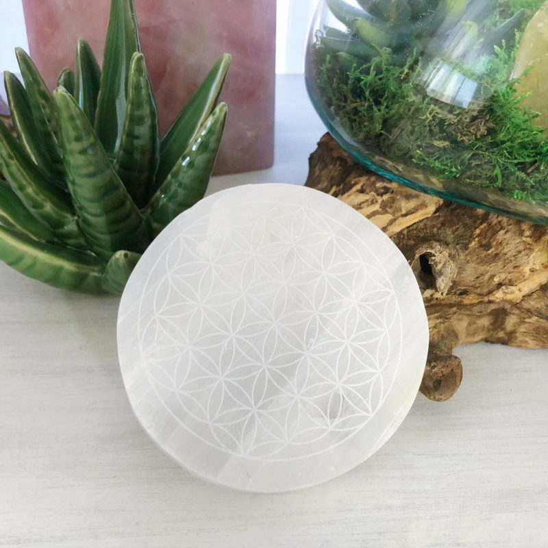 Flower of Life Etched Selenite Charging Plates