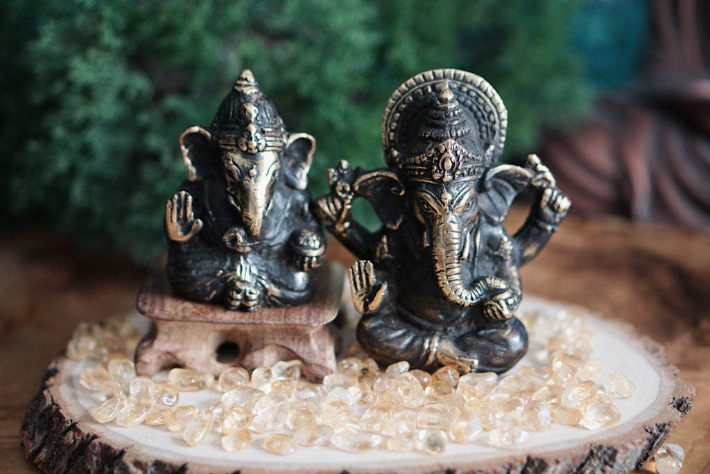 Brass Finish Metal Ganesh Statue
