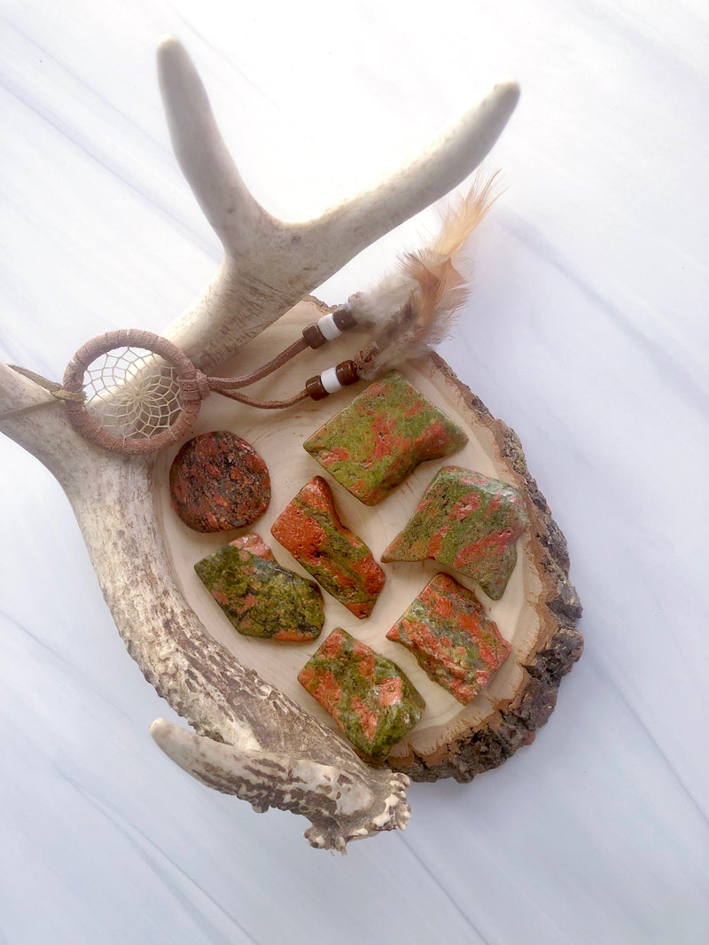 Polished Unakite Slices for Balance & Heart Healing