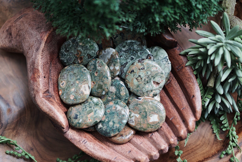 Rainforest Jasper Palm Stones for Love & Earth Connection