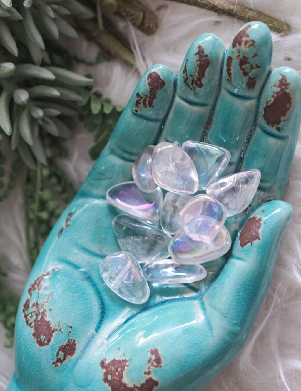Tumbled Angel Aura Quartz for Angelic Connection