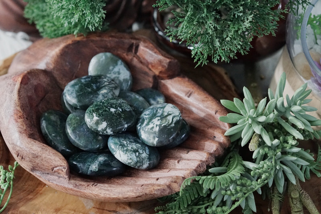 Moss Agate Palm Stones for Connecting to Nature