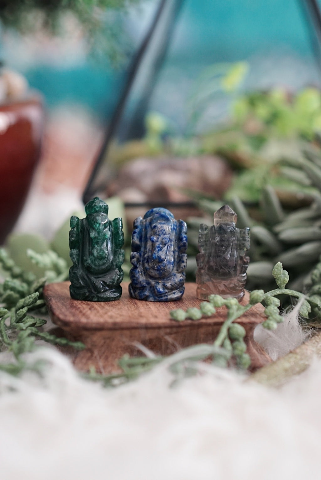 Miniature Ganesh Crystal Carvings