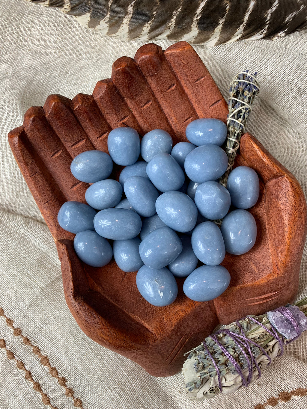 Tumbled Angelite for Gratitude & Angelic Connection