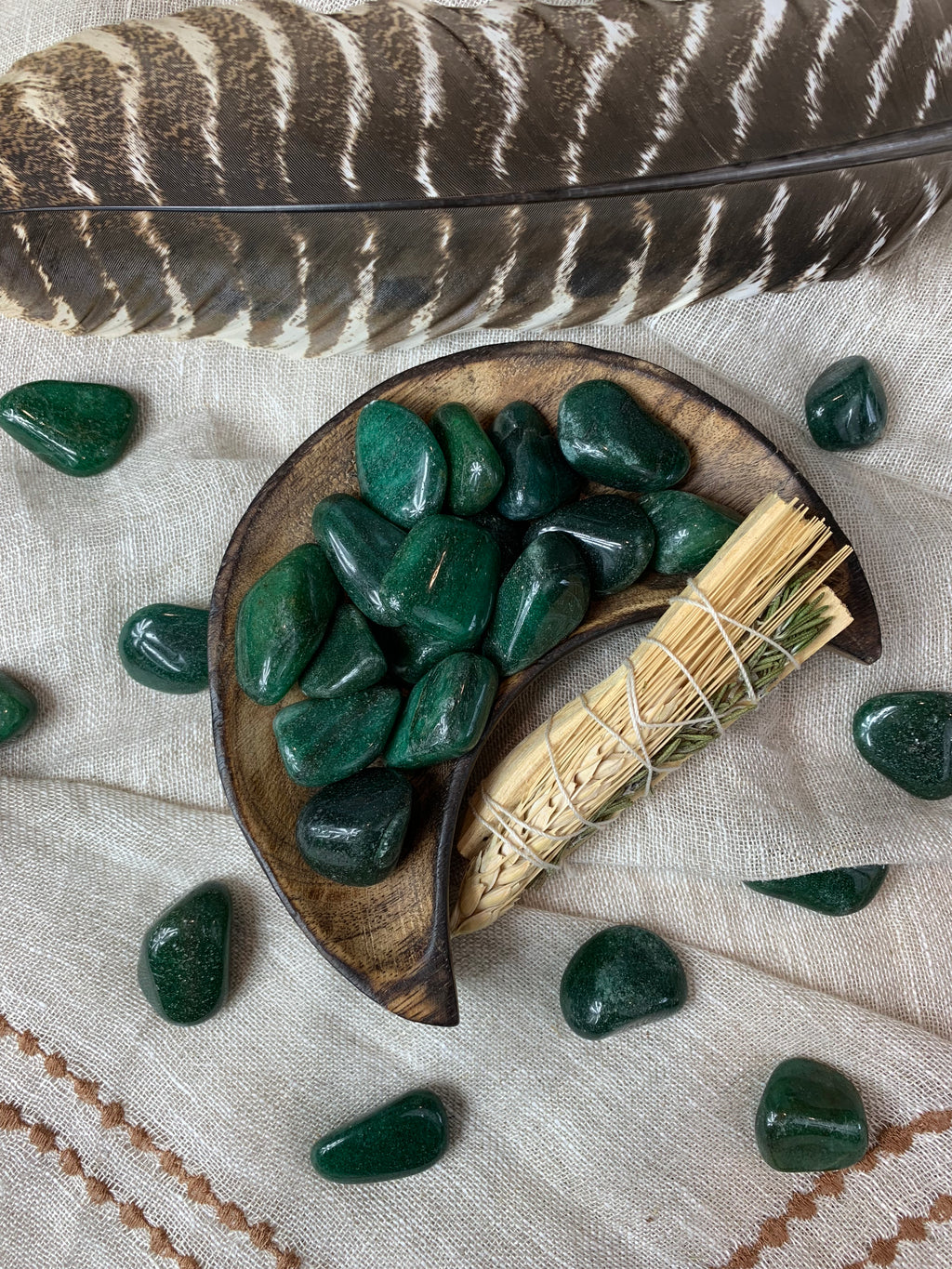 Tumbled Dark Green Aventurine for Wealth
