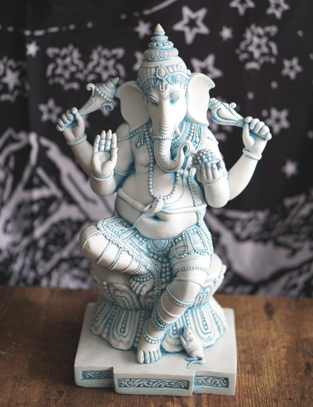 Blue Wash Ganesh Statue