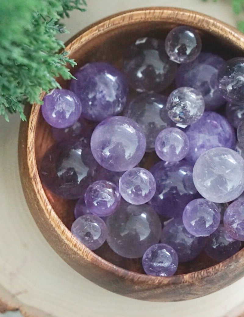 Light Amethyst Mini Spheres for Protection & Healing