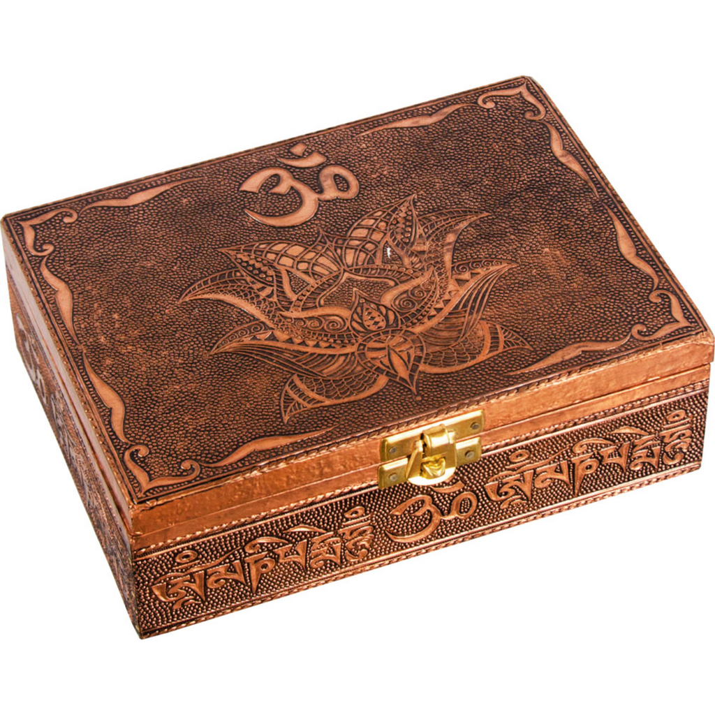 Embossed Bronze Metal Box with Velvet Lining - Various Styles