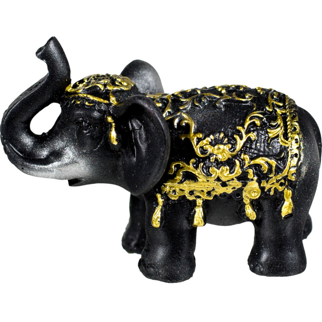 Black & Gold Elephant Statue for Good Fortune