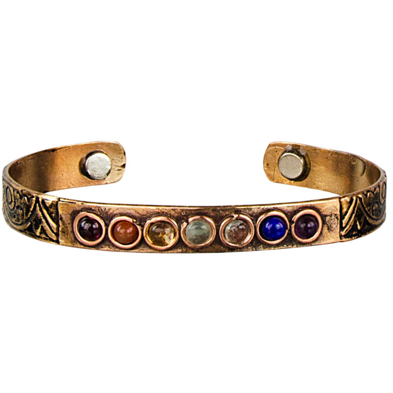 Copper Cuff Bracelet with Chakra Stones