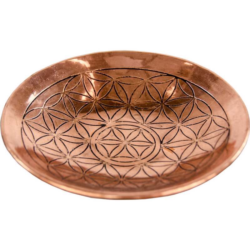 Embossed Copper Offering Dish with Flower of Life Design