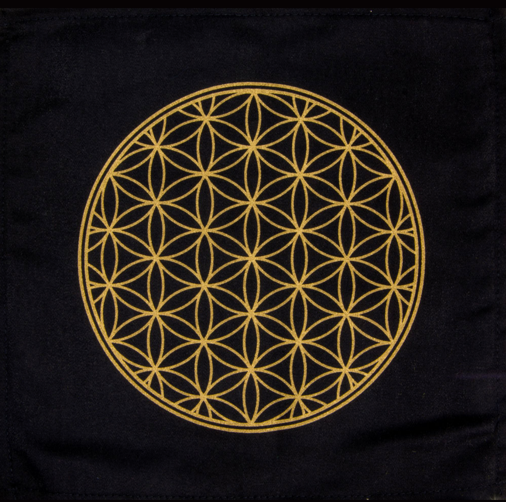 Black Cotton Crystal Grid Altar Cloths - Various Styles
