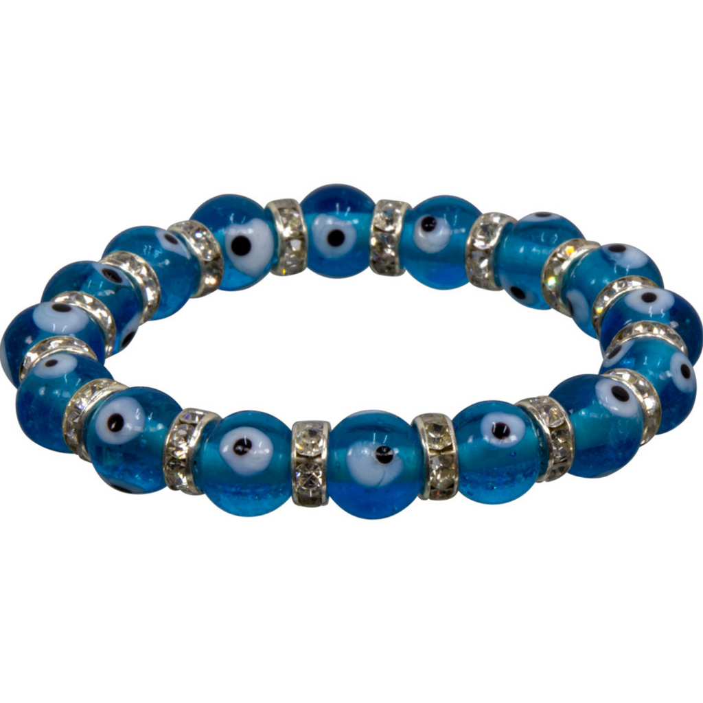 Glass Evil Eye & Rhinestone Stretch Bracelets - Various Colors