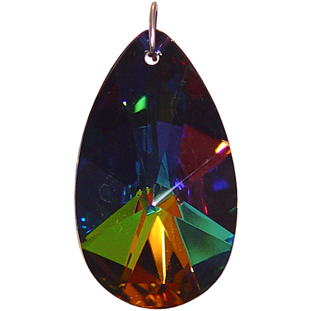Crystal Prism Black Rainbow Faceted Almond