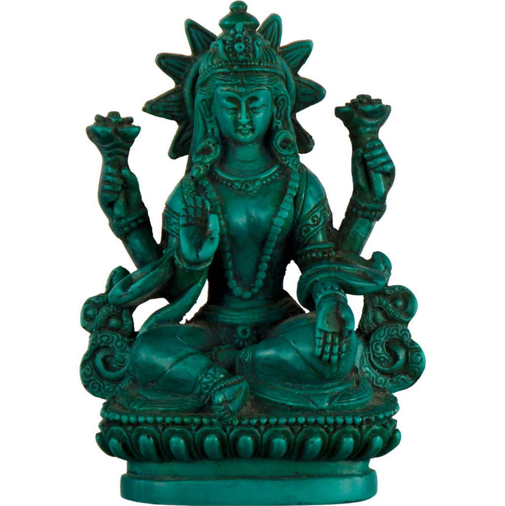 Antiqued Turquoise Color Lakshmi Statue