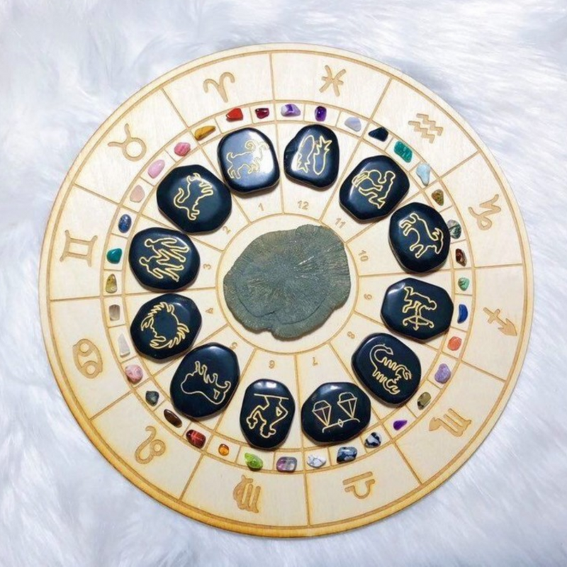 Wooden Zodiac Symbols Crystal Grid Bases - Various Sizes