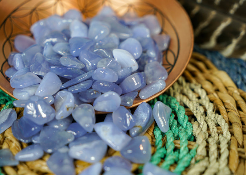 Tumbled Blue Chalcedony for Soothing & Support