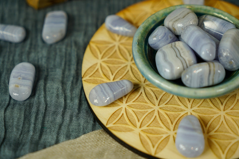 Tumbled Blue Lace Agate for Happiness & Personal Growth