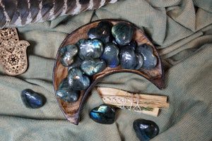 Carved Labradorite Hearts for Spiritual Beauty