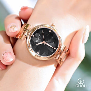 5 Colors Women Watches Ladies Crystal Round Wristwatch Modern Rose Gold Womens' Fashion Accessories black Fashion & Tech Shop