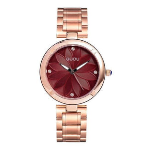 5 Colors Women Watches Ladies Crystal Round Wristwatch Modern Rose Gold Womens' Fashion Accessories Dark red Fashion & Tech Shop