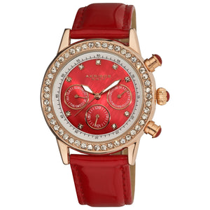 Akribos XXIV Women's Red Multifunction Dazzling Strap Watch Akribos XXIV