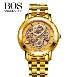Angela Bos Luxury Golden Chinese Dragon Automatic Mechanical Wristwatch 3ATM Water Resistant Analog Man Self-winding Skeleton Watch mens watch Fashion & Tech Shop