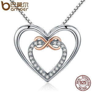 BAMOER Authentic 925 Sterling Silver Elegant Infinity Love Double Heart Pendant Necklaces for Women Fine Jewelry Gift SCN121 Necklace Fashion & Tech Shop