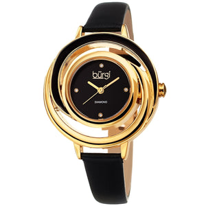 Burgi Ladies Floating Diamond Dial Black Thin Leather Strap Watch Burgi