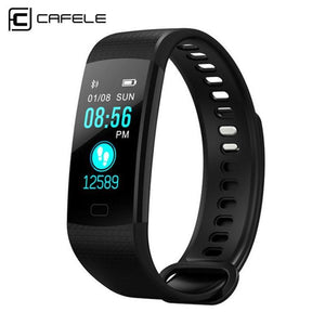 CAFELE Smart Wristband Fitness Bracelet Big Touch Screen OLED Message Blood Oxygen Blood Pressure Heart Rate Time Smartband Fitness Tracker Black Fashion & Tech Shop