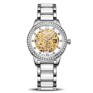 Ceramic Women Mechanical Watches MEGIR Diamond Luxury Ladies Skeleton Automatic Watch Womens' Fashion Accessories Silver Fashion & Tech Shop