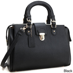 Dasein Front Snap Lock Satchel/Crossbody Handbag Bags & Wallets Black Fashion & Tech Shop
