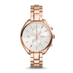 Fossil Woman's CH2977 Land Racer Chronograph Stainless Steel Rose Gold Watch Fossil