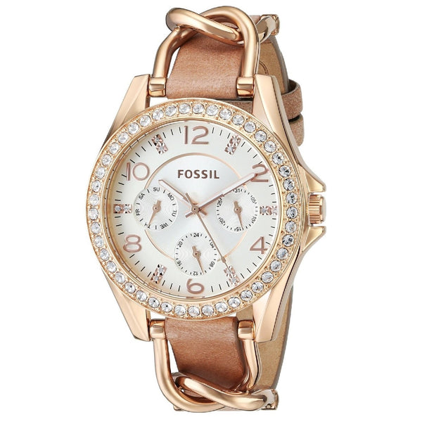 Fossil Women's ES3466 Riley Multi-function Rose Goldtone Leather Watch Fossil