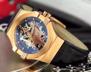 HOT Maserati Potenza Rose Gold Skeleton Big Maserati Logo White Dial Automatic Mens Watch Mechanical Sport Racing Car Wristwatch mens watch N1 Fashion & Tech Shop
