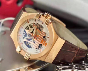 HOT Maserati Potenza Rose Gold Skeleton Big Maserati Logo White Dial Automatic Mens Watch Mechanical Sport Racing Car Wristwatch mens watch N6 Fashion & Tech Shop
